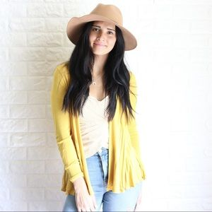 Sweaters - Open Cardigan with Pleated Hem Detail